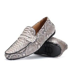 Image 2 - Fancy Exotische Echt Python Leer Soft Rubble Zool Mannen Flats Kleding Schoenen Authentieke Snakeskin Mannelijke Slip On Schoenen voor Suits