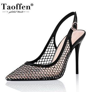 TAOFFEN Women Sandals Patchwork Thin High Heels Buckle Pointed Toe Women Shoes Solid Color Soft Casual Footwear Size 34-45