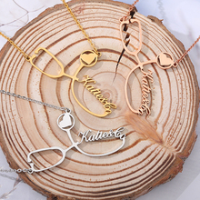 Custom Stethoscope Name Necklace Gold Chain Stainless Steel Choker Nurse's Customized Charm Necklace For Women Men Bff Jewelry