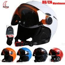 MOON Профессиональный полузакрытый лыжный шлем цельно-Формованный спортивный мужской женский Снежный Лыжный Сноуборд шлемы с защитными очками