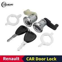 Автомобильный Дверной замок ключ для Renault левый+ правый Автомобильный Дверной замок цилиндр с 2 ключами для Renault Megane Scenic Clio Master OE