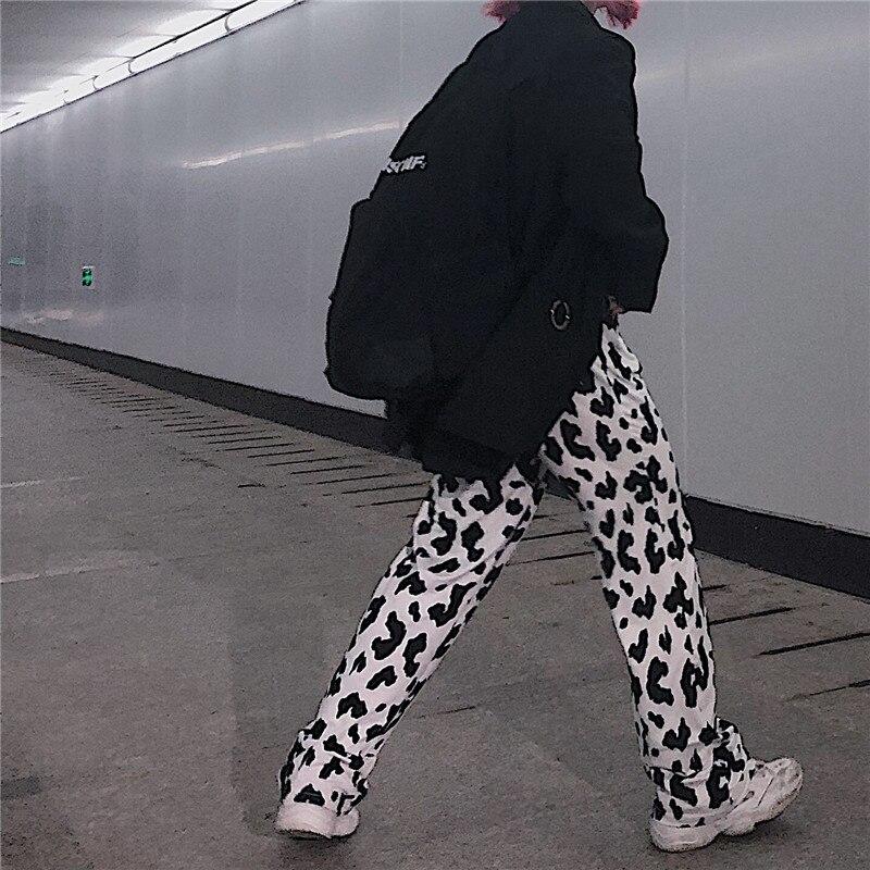 Focal20 Streetwear Cow Pattern Women Pants Elastic Waist Wide Leg Female Trousers Bottoms Loose Spring Autumn Lady Pants Bottoms