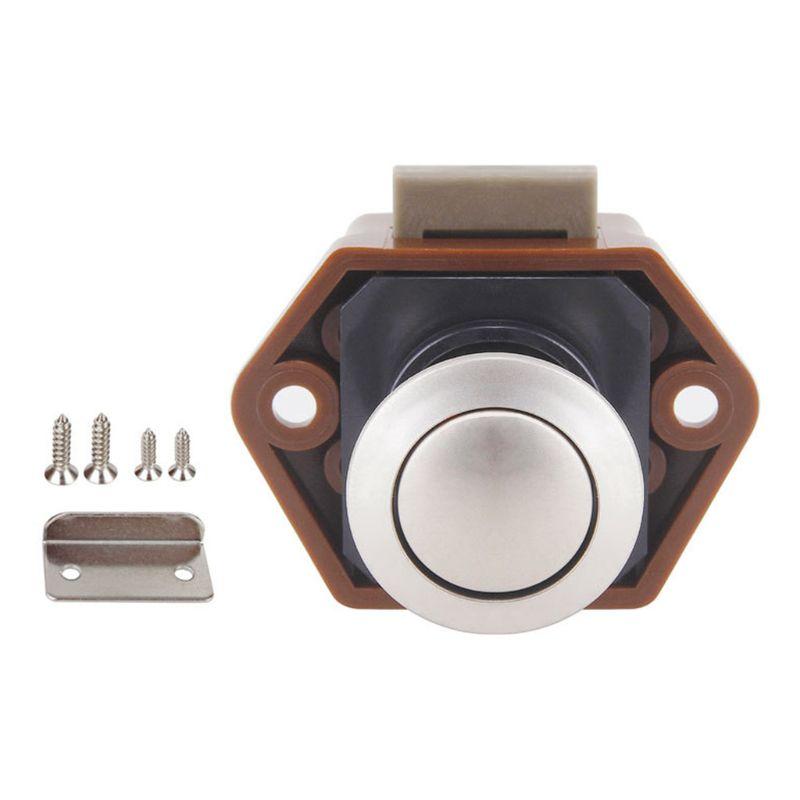 Diameter 20mm Camper Car Push Lock RV Caravan Boat Drawer Latch Button Locks For Furniture Hardware Brown
