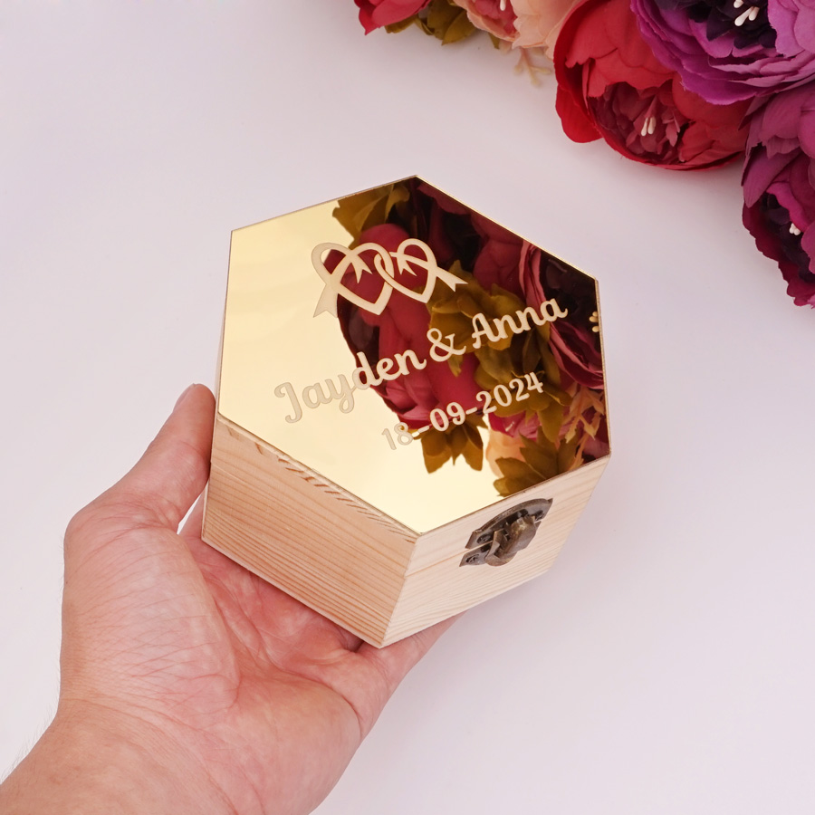 Custom Acrylic Mirror Cover Hexagon Wooden Gift Box Personalized Wedding Candy Holder Display Party Decor Favors