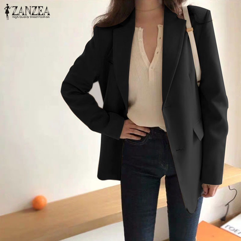 ZANZEA 2020 Women's Casual Blazers Elegant Female Single-breasted Outwears Long Sleeve Blusas Female Solid Coats Oversized Tunic