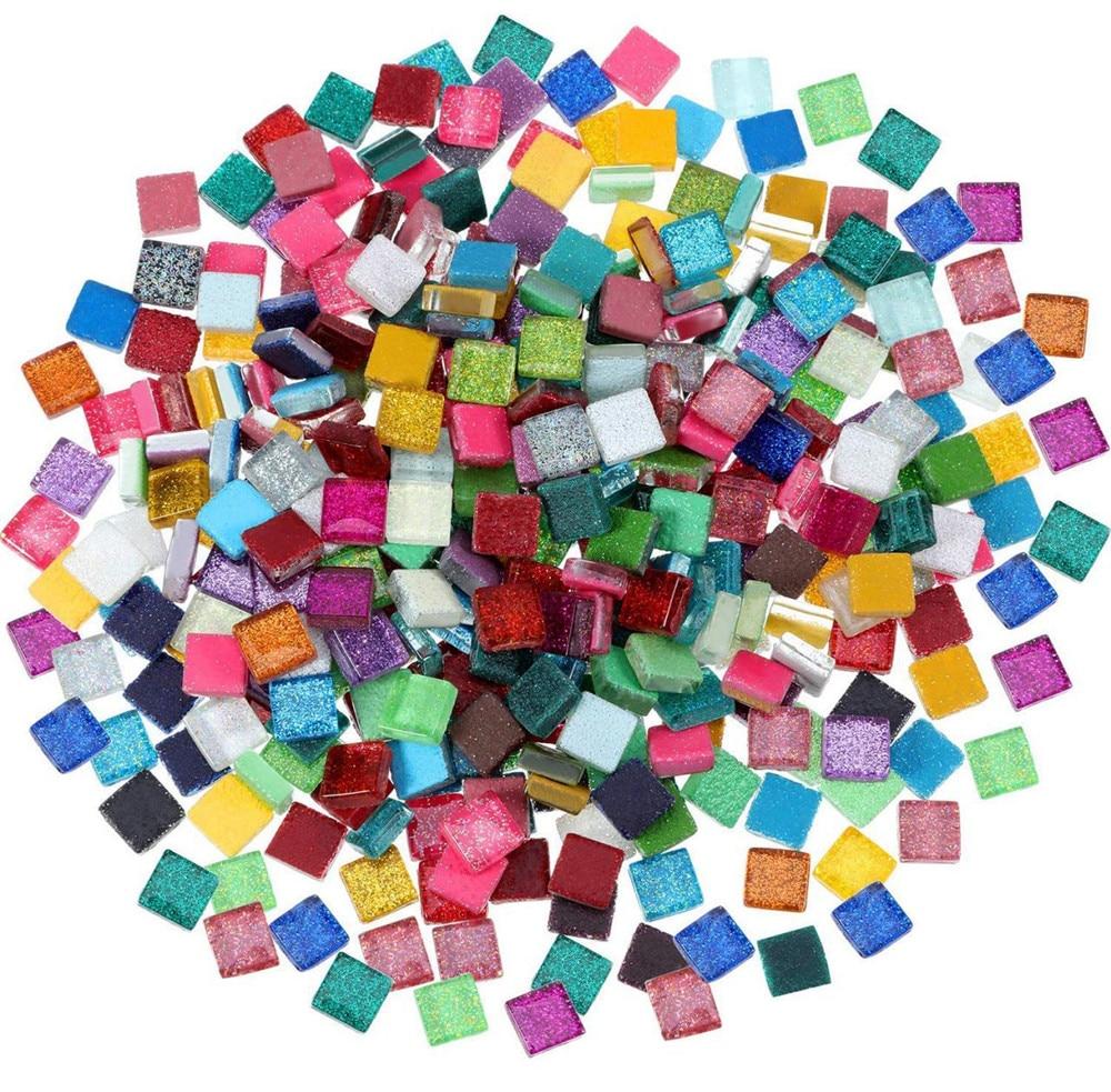 100pcs 1*1cm DIY Mix Color Glitter Glass Mosaic Stones Mosaic Tiles Glass Pebbles Crafts Material Puzzle For DIY Mosaic Making