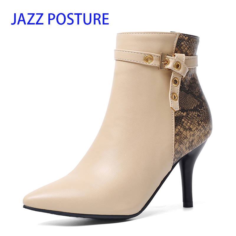 Ankle Women Boots Snake Pointed Toe Footwear Booties Warm Short Plush Buckle 2019 Thin High Heels 8cm Ladies Shoes z290