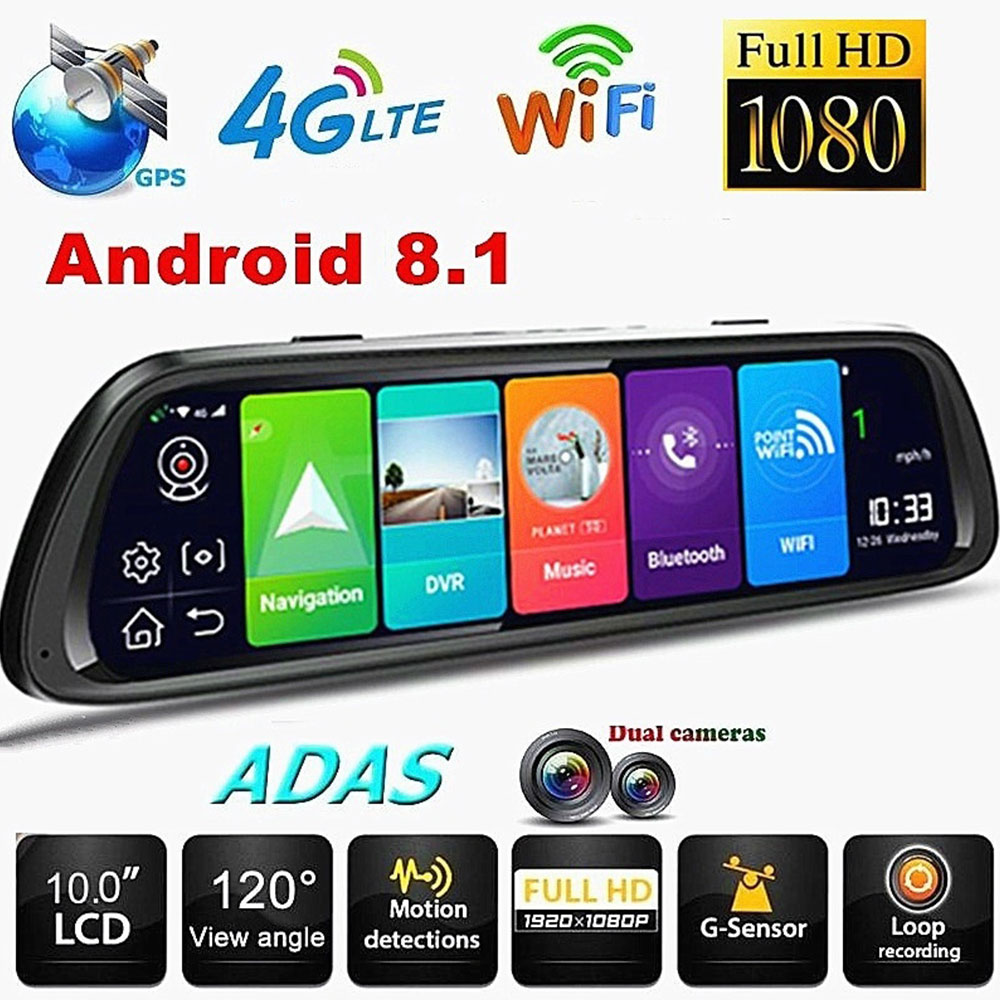 10 Inch Dash Cam Recorder <font><b>ADAS</b></font> WIFI Dual Lens Full HD 4G GPS Navigation <font><b>Car</b></font> <font><b>DVR</b></font> Android 8.1 <font><b>Rearview</b></font> <font><b>Mirror</b></font> <font><b>Camera</b></font> image