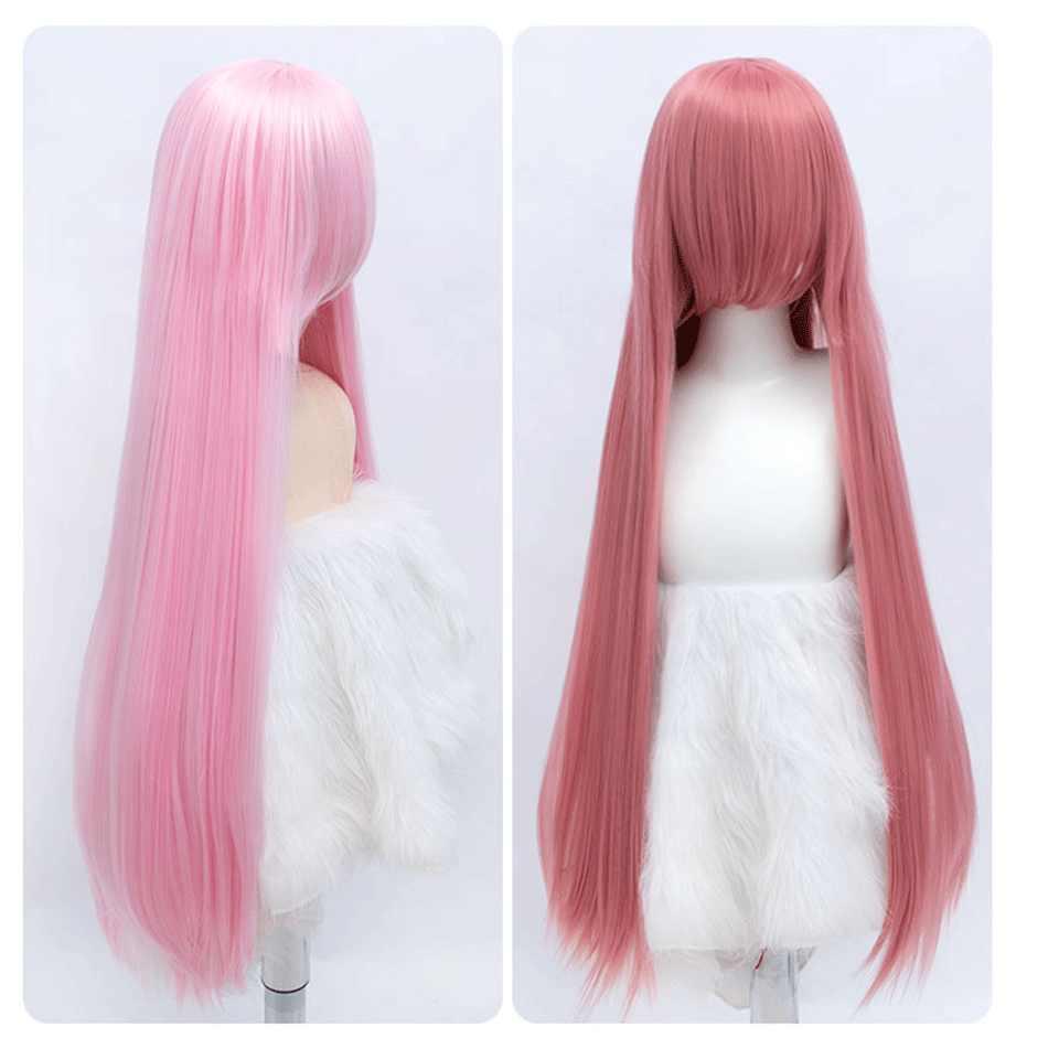 Cosplay peluca Lolita de anime azul rosa amarillo Rubio púrpura Azul Rojo Negro naranja rojo blanco porque pelo Pelo 100cm 39 pulgadas MUMUPI
