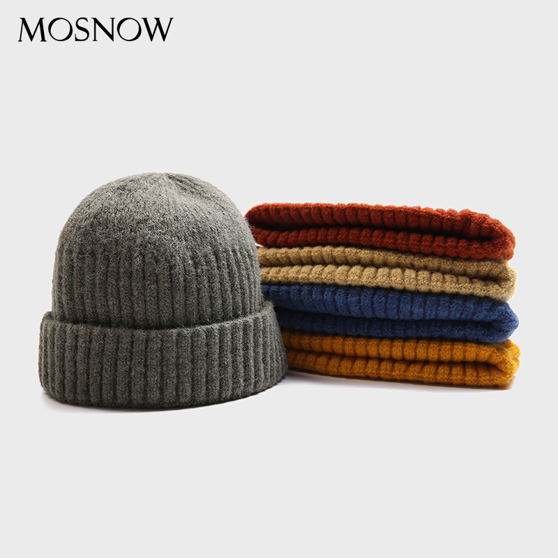 Adult Skullcap Winter Short Beanie Warm Knitted Hats Casual Wide Hip Hop Hat Adult Men Women Woolen Knitted Autumn Unisex Caps
