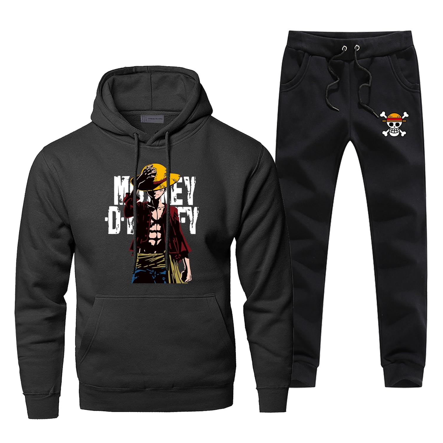 Luffy One Piece Hoodies Pants Set Men Sets Japan Anime Suit Pant Sweatshirt Sweatpants Sportswear Autumn Hoody 2 PCS Tracksuit