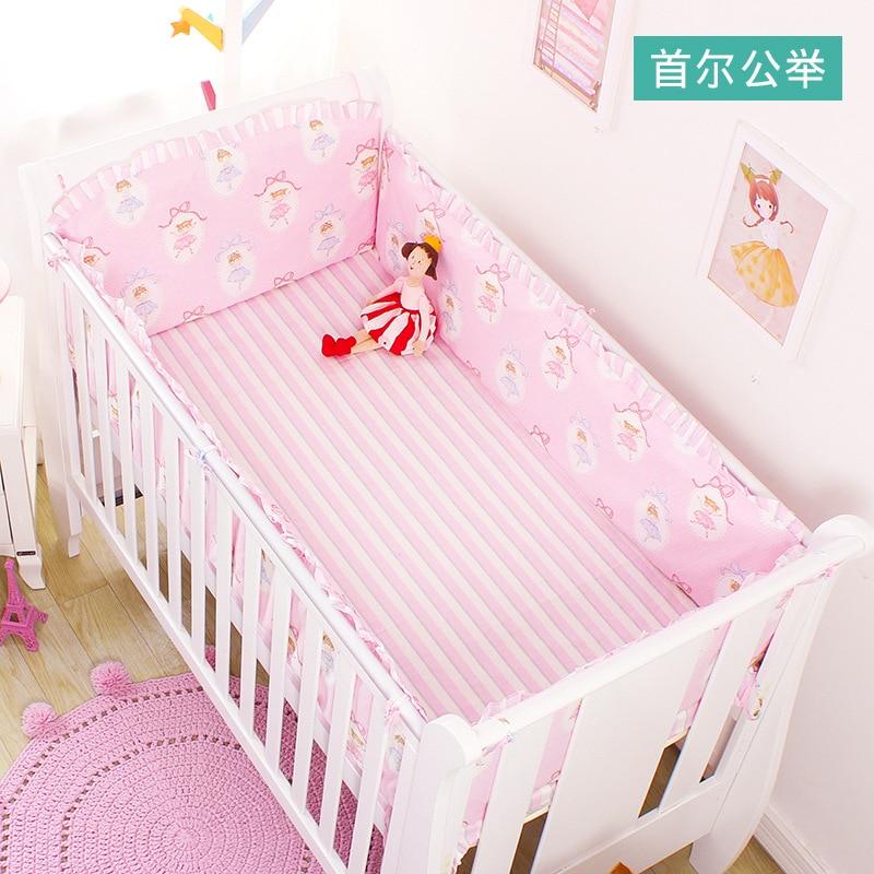 Nordic 4pcs Cot Bumpers +Flat Bed Sheet Cartoon Cotton Children`s Crib Protector Baby Bedding Anti-collision Kids Bedding Set (5)