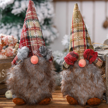 1pc Multicolor świąteczne pluszowe Gnome śliczne śnieżynka sprawdzone kapelusz Gnome ozdoba na biurko świąteczna do domu dekoracja stołu tanie tanio Plush doll