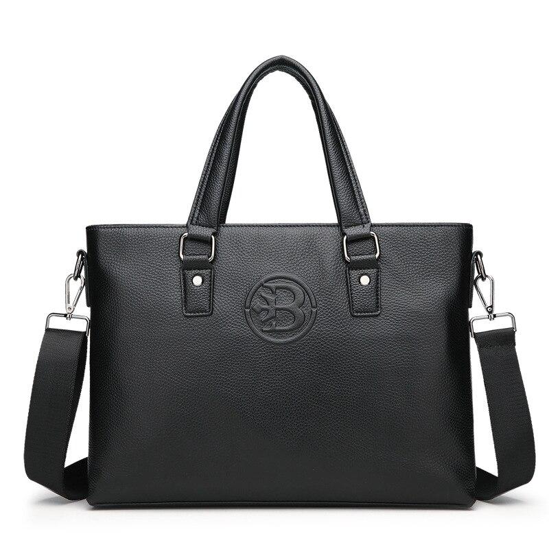 Top Layer Cowhide Men's Briefcase Business Travel Bag Male Computer Laptop Handbag Casual Shoulder Cross Body Bag Messenger Bag