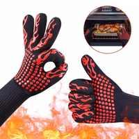 1 para rękawice strażackie ogień ogień rękawice odporna na wysokie temperatury rękawice kuchenka mikrofalowa grill na świeżym powietrzu 932F grill gorący płomień dowód rękawice robocze mężczyzn