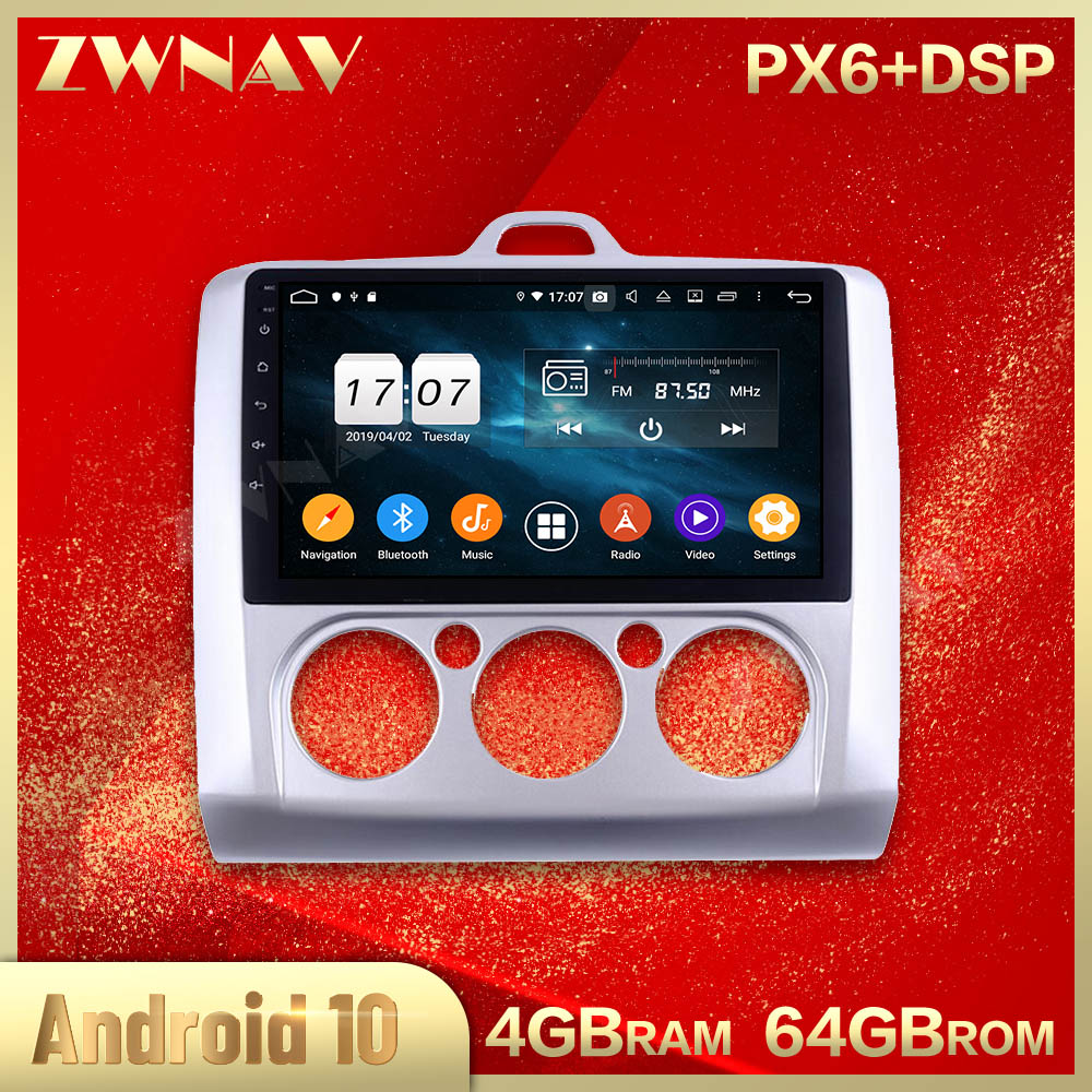 2 din Android 10.0 screen Car Multimedia player For Ford Focus MT 2004-2011 BT Video radio stereo GPS navi head unit auto stereo image