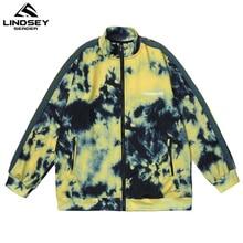 LINDSEY SEADER Men's Jacket Tie-dye Printed Zipper Stand Collar Side Stripe Reflection
