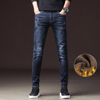 Men Fashion Winter, Jeans Men Black, Blue Slim Fit Stretch Thick, Velvet Pants Warm, Jeans Casual Fleece Trousers Male, 1