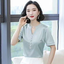 Korean Silk Women Blouses Shirt