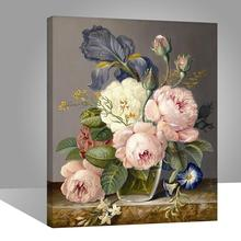 RIHE Rose flowers painting by numbers, wall art picture for living room,canvas paintings on the wall,drawing by numbers 40x50CM rihe exquisite rose flowers framed oil painting by numbers coloring by numbers modern wall art picture home decoration 40x50cm