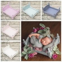 5 colores posando cestas Vintage cama de madera para bebé recién nacido fotografía Props sesión de fotos accesorios de estudio fotografía sesión de fotos