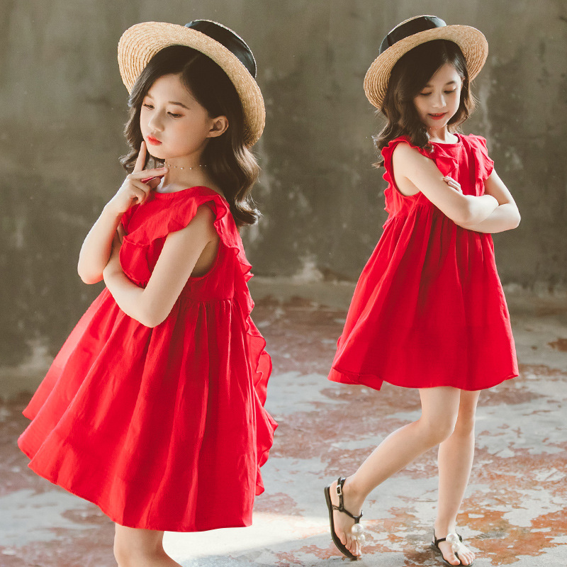 Summer Baby Girl Dresses Preppy Style Sleeveless Cotton Pleated Sundress Summer Toddler Girl Outfit 4 6 814  Years