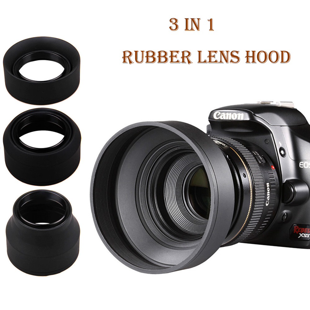 3 in 1 Stage 3-Stage Rubber Collapsible <font><b>Lens</b></font> <font><b>Hood</b></font> 49 52 55 <font><b>58</b></font> 62 67 72 77 82mm for Canon Nikon Sony Pentax Olympus DSLR Camera image