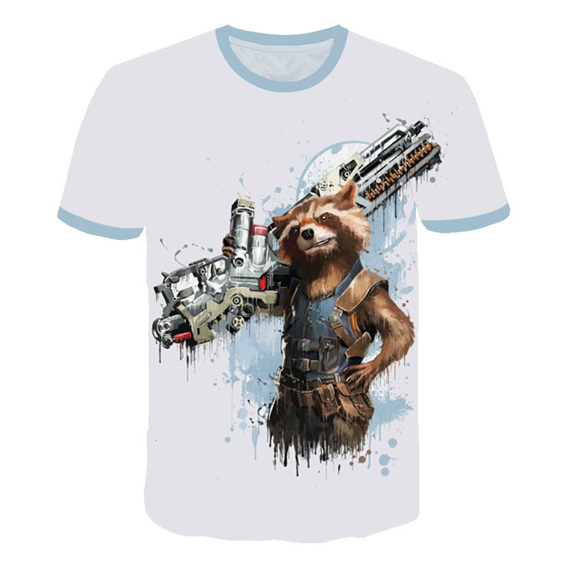 Funny 3D Rocket Raccoon Tee Shirt Guardians Of The Galaxy T Shirts Movie Casual Tshirt Men Cute Groot Funky Tops