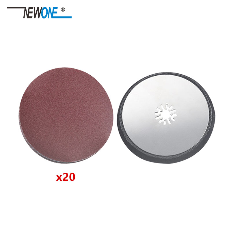 20pcs Sanding Paper+Roundsanding Pad Fit For Multifunction Oscillating Power Tool Like Fein Dremel