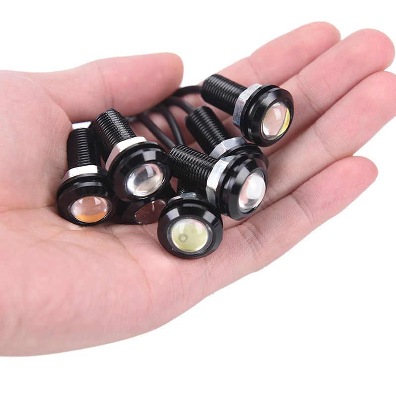 Yeni 1 adet 12V LED 18mm kartal göz ışık yüksek güç lamba otomatik sis ampul yedekleme DRL araba styling gündüz çalışan işık park ışıkları