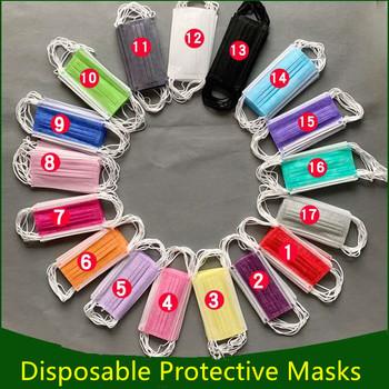 Jednorazowa maseczka ochronna opakowanie 50 100 sztuk 3-warstwowa przeciwpyłowa ochrona przed konserwantami zanieczyszczeniami tanie i dobre opinie NoEnName_Null NONE Chin kontynentalnych Protective Mask 3 Layers