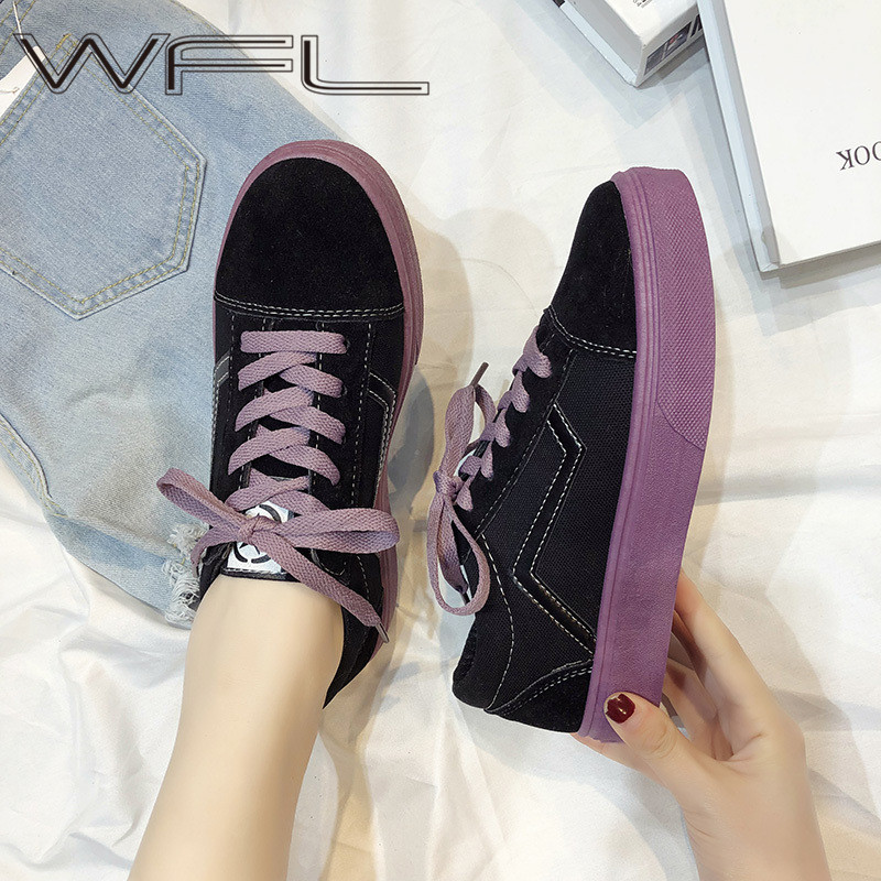 WFL Women's Canvas Shoes Fashion Vulcanize Shoes Basic Wild Chic Flat Bottom Shoes Casual Low Lace-up Sneakers Female Ladies