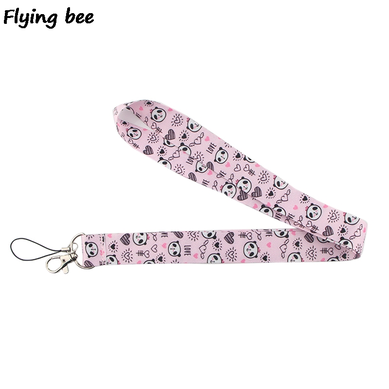 Flyingbee Panda Kwaii Animal Lanyard Phone Rope Keychains Phone Lanyard For Keys ID Card Cartoon Lanyards For Men Women X0383