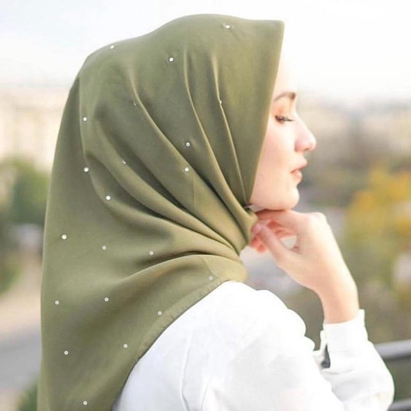 110x110cm Cotton Linen Square Scarves Malaysia Headscarf Women's Muslim Hijab Solid Color Muslim Hijab Turban Wrap Full Diamonds