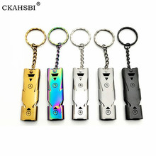 CKAHSBI Outdoors High Decibel Portable Keychain Whistle Stainless Double Pipe Emergency Survival Whistle Multifunction Tool 1pcs double pipe high decibel stainless steel outdoor emergency survival whistle keychain cheerleading whistle multifunction tool