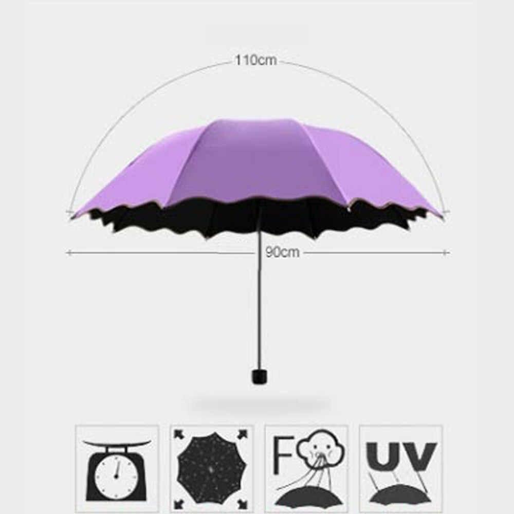 Perjalanan Parasol Lipat Hujan Tahan Angin Payung Lipat Anti Sinar UV Matahari/Hujan Wanita Hadiah Gadis Anti Sinar UV Tahan Air Portable