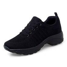 Женщины Повседневная обувь для ходьбы дышащий танцевальной балетки нескользящая сетка зашнуровать износостойкие кроссовки легкие платформы черный
