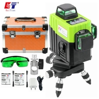 Kaitian 12 linhas níveis de laser 3d bateria auto-nivelamento cruz horizontal 360 vertical verde lasers feixe 532nm linha livella nível