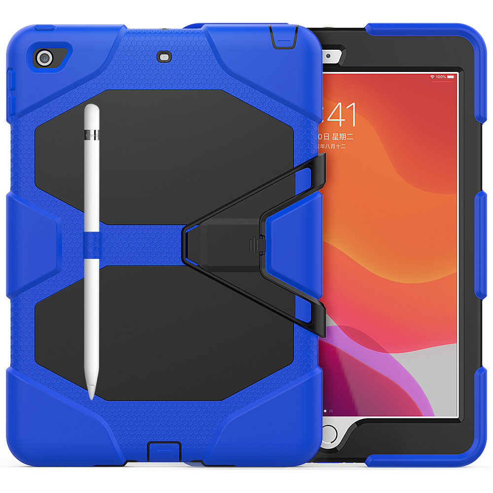blue Blue For iPad 10 2 Case Heavy Duty PC Silicone Rugged Armor Kids Shockproof Kickstand Case for