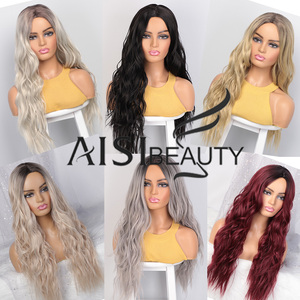 Image 3 - AISIBEAUTY Long Wavy Wigs for Women Synthetic Wigs Omber Blonde/Red Wigs Middle Part  Heat Resistant Fiber 13colors Avaliable
