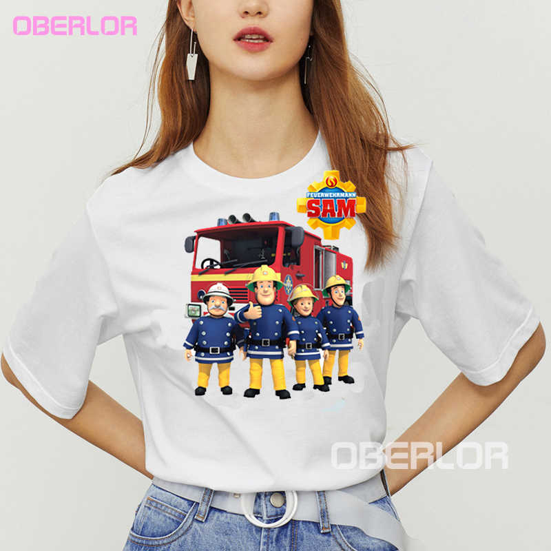 漫画消防士サムプリントおかしい tシャツキッズ夏はベビーガールズボーイズ偉大なカジュアル Tシャツ