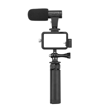 Aluminum Easy Carry Cage +Tripod + Microphone + Audio Adapter Set for DJI OSMO Action Adapter Cable Cord