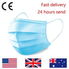 CE 50pcs Disposable Face Mask Dental Surgical Safety Masks 3Ply Protection