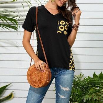 Vicabo Plus Size Black Tshirts Womens Tops Summer Fashion Pocket Leopard Sunflower Print T-shirt Female Patchwork V Neck Tops 1