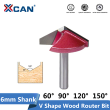 XCAN 1pc 6mm 샹크 10/16/22/32mm V 슬롯 밀링 커터 텅스텐 카바이드 CNC 엔드 밀 3D 조각 Bir Fow 목공 라우터 비트