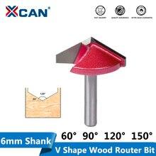XCAN 1 adet 6mm Shank 10/16/22/32mm V yuvası freze Tungsten karbür CNC End Mill 3D oyma Bir akış ağaç İşleme yönlendirici Bit