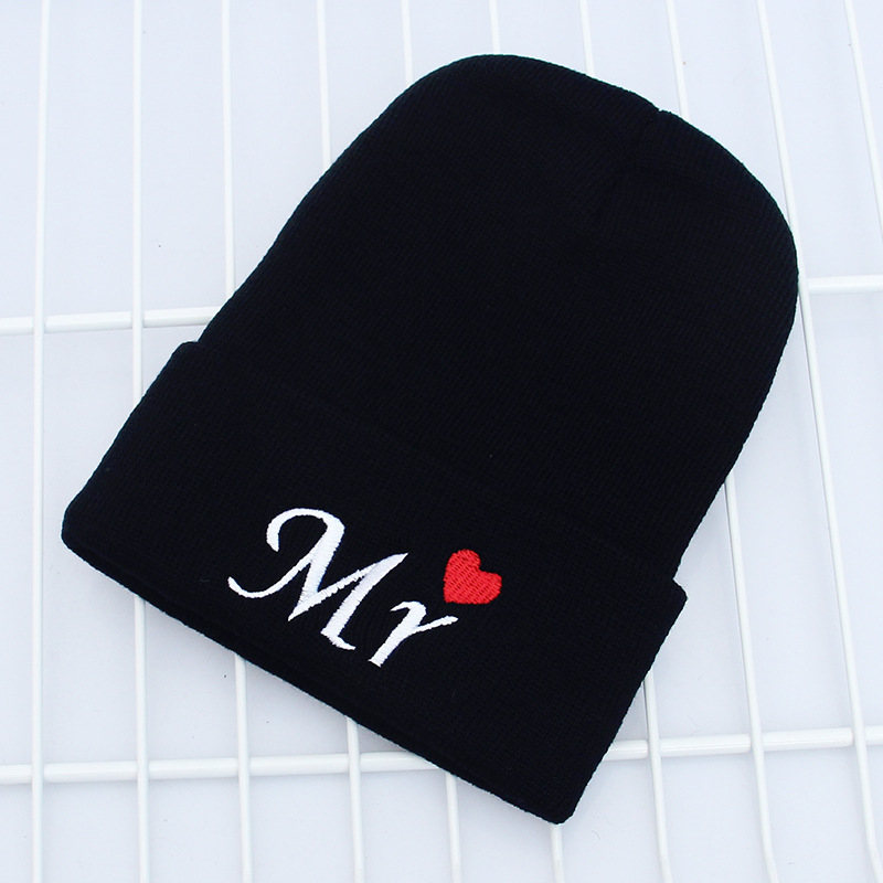 Beanies Letter Embroidery Warm Hat Knitted Cap Hip Hop Men Women Lovers Street Dance Bonnet  Black White