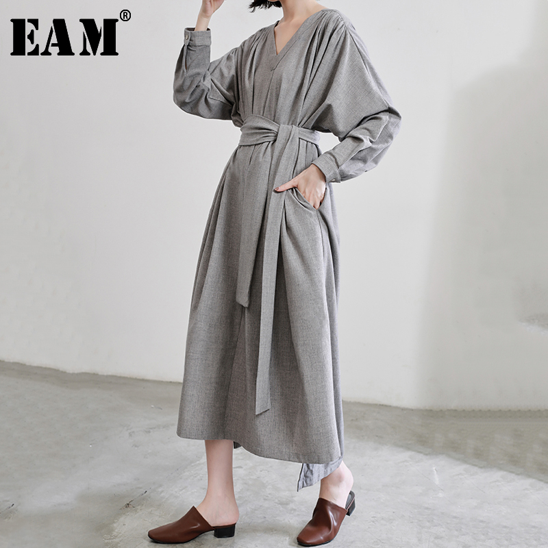 [EAM] Women Gray Bandage Split Joint Big Size Dress New V-Neck Long Sleeve Loose Fit Fashion Tide Spring Autumn 2020 JQ745