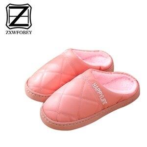 Image 4 - ZXWFOBEY الرجال النساء أحذية دافئة المنزل حذاء للحديقة الفراء اصطف الشرائح داخلي خف جلدي أحذية الشتاء