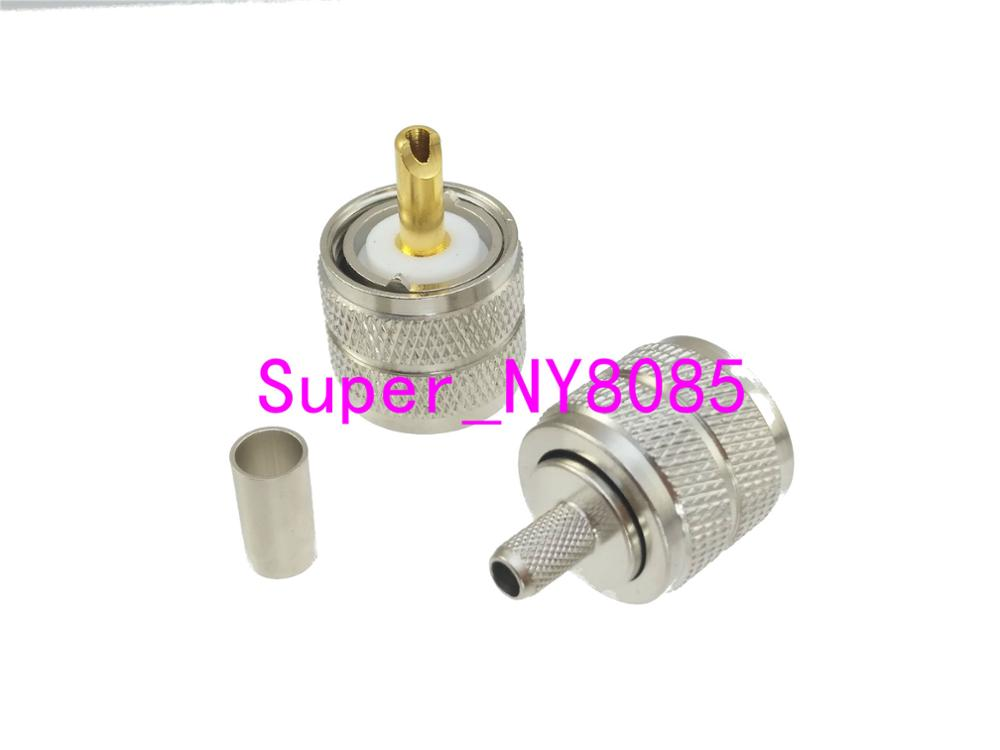 1pce Connector UHF PL259 male plug crimp RG58 RG142 LMR195 RG400 cable Straight